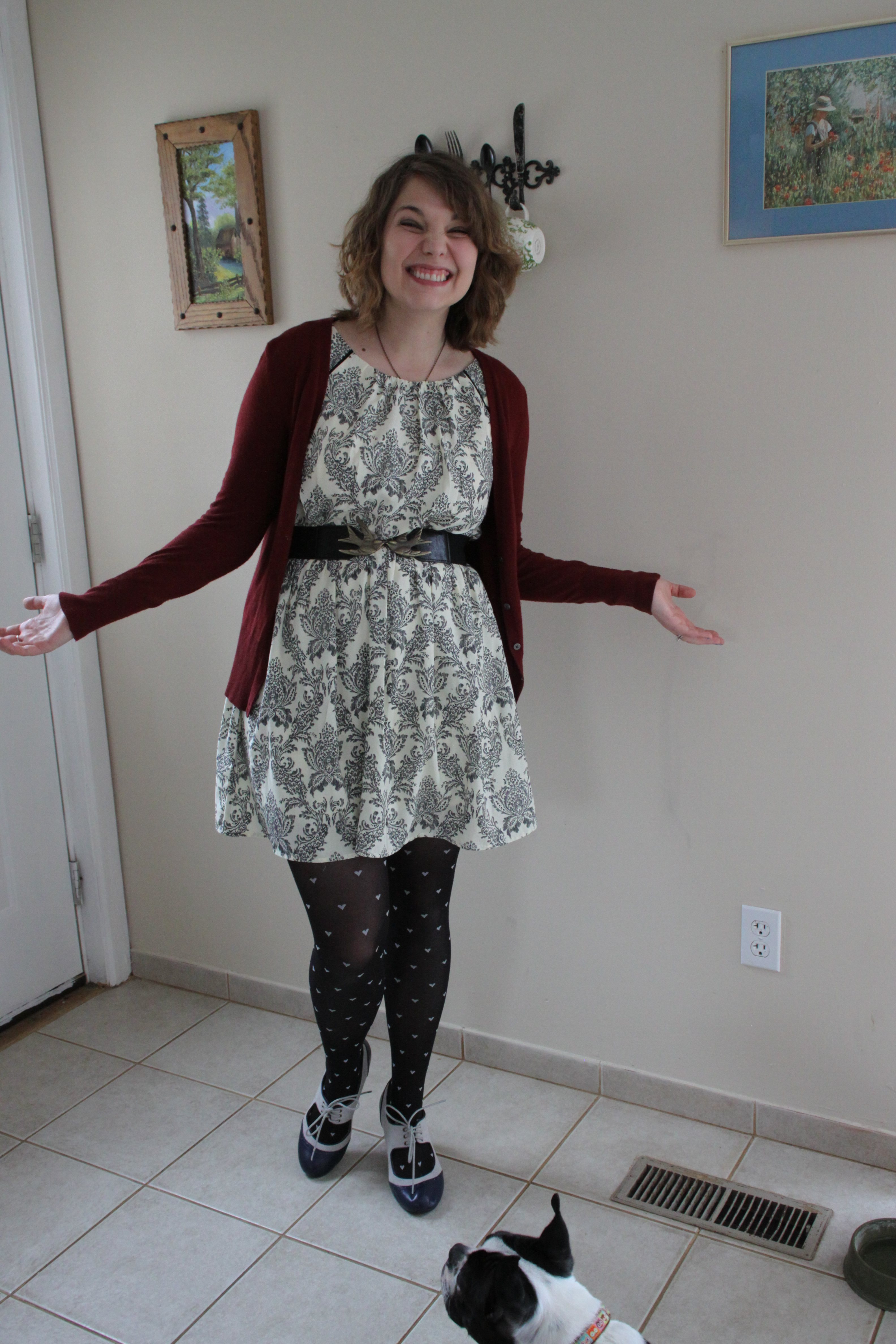 721de01d89ebe What I Wore: Dress: ModCloth (Style Surprise) Cardigan: Target Necklace:  Etsy Belt: Charlotte Russe Tights: Old Navy Shoes: ModCloth